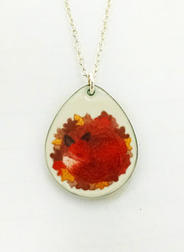 Large Teardrop Necklace in Red Fox in Leaves