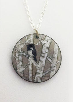 Large Round Necklace in Chickadees and Birch Trees