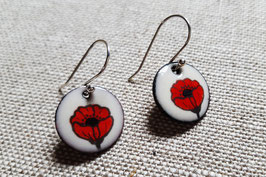Small Round Earrings in Poppy