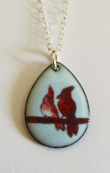 Small Teardrop Necklace in Cardinals