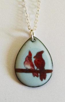 Small Teardrop Necklace in Cardinals