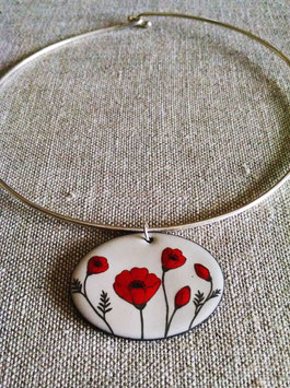 Very Large Oval Collar Necklace in Poppy
