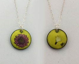 Small Round Necklace in Fuschia Gerbera Daisy