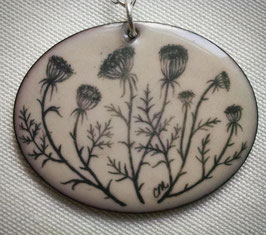 Very Large Oval Pendant on Chain in Queen Anne's Lace