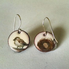 Small Round Earrings in House Sparrow