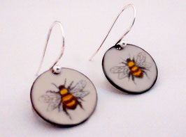 Small Round Earrings in Honeybee