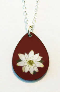 Small Teardrop Necklace in White Poinsettia on Cranberry