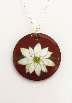 Large Round Necklace in White Poinsettia on Cranberry
