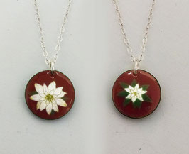 Small Round Necklace in White Poinsettia on Cranberry