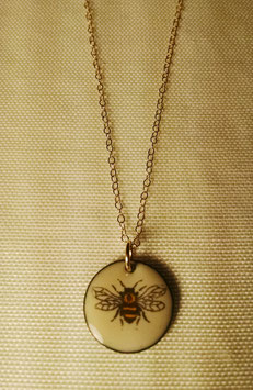 Small Round Necklace in HoneyBee with 14K Yellow Gold