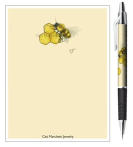 Honeybee & Honeycombs Stationery Notepad & Pen Set