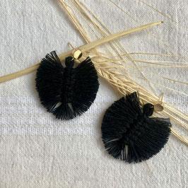 kleine Feder Ohrringe - Schwarz - Gold