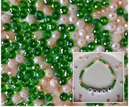 Perlenarmband 'Green&Beige'