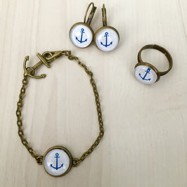 Blue anchor Schmuckset