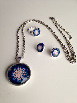 Ice crystal darkblue Schmuckset