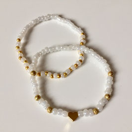 Armbandset 'Goldy Heart' in Perlmutt