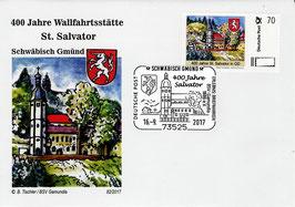 Erinnerungsbeleg 400. Jahre St. Salvator in Schwäbisch Gmünd mit Briefmarke individuell Nr. 1 und Sonderstempel