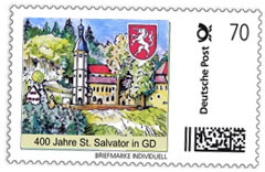 "Nr. 1 Briefmarke individuell ""400 Jahre St. Salvator in GD - 70 Cent"""