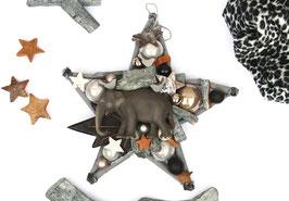 Stern mit Elefant in grau - braun