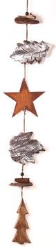 Girlande aus Edelrost- Stern und Holzblättern (Nr. 0141)