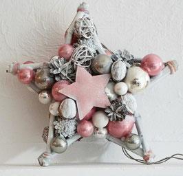 Kleiner Stern in weiß-rosa, beidseitig gearbeitet
