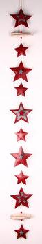 Rot-Graue Girlande mit Metallsternen (Nr. 5541)