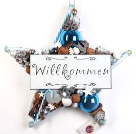 """Stern in weiß - blau mit """"Willkommen"""""""