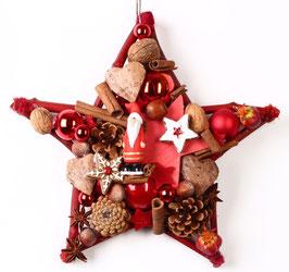 Kleiner Stern in rot mit Weihnachtsmann