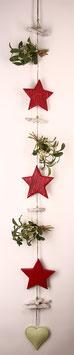 Rot-grüne Girlande mit Sternen und Mistelzweigen (4240)