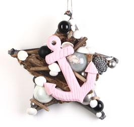 Stern schwarz - weiß mit rosa Anker
