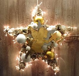 Großer Stern in gold-weiß mit Licht (Nr. 0261)