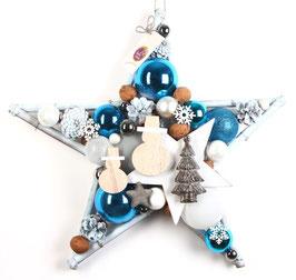 Schneemänner im weiß - blauen Stern