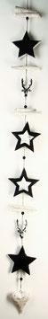 Weiß-schwarze Girlande mit Sternen und Herz (Nr. 5250)