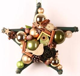 Grüner Stern, mit Holzhäuschen, beidseitig