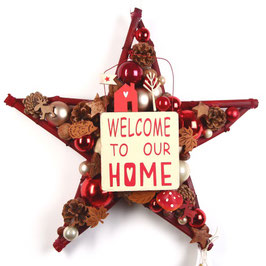 """Rote Türdeko in Stern Form """"Welcome to our home"""""""