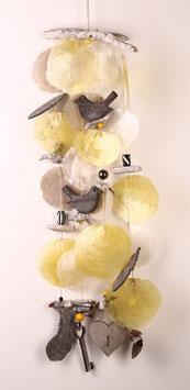 Muscheldeko in gelb - natur (Nr. 6607)