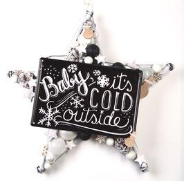 Großer Stern in weiß-schwarz mit Metallschild