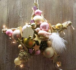 Kleiner Stern in rosa - gold, mit Lichterkette