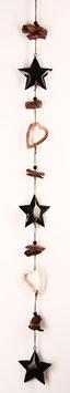 Schwarz-kupfer Girlande mit Sternen und Herzen (4222)