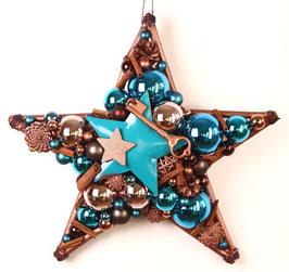 Großer Stern in blau - kupfer