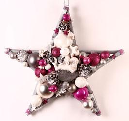 Großer Stern in pink-grau-weiß mit Engel (Nr. 0026)