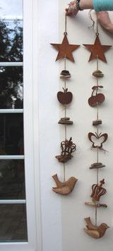 Edelrost Deko Girlande mit Holzvogel