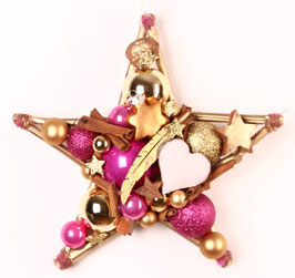 Stern in gold - pink mit Herz