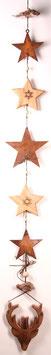Girlande aus Edelrost- Sternen und Holzhirsch (Nr.0139)