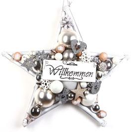"""Weißer Stern """"Willkommen"""""""