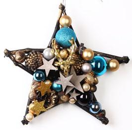 Stern mit blau-gold mit Hirschkopf