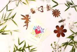 Edelrost Elfen Girlande mit Fairtrade Grußkarte
