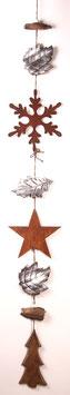 Girlande aus Edelrost- Sternen und Holzblättern (Nr. 0140)
