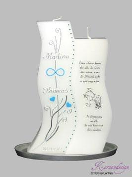 Hochzeitskerze inkl. Gedenkkerze mit Straßsteinen