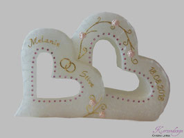 Hochzeitskerze Herzen mit Teelichteinsatz